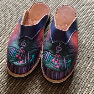 Music-Themed Leather Clogs. Like new!